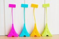 Free Shipping Silicone Mini Eiffel Tower Spoon Tea Strainer Infuser Teaspoon Filter 10pcs/lot