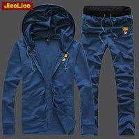 Jieeliee male cardigan sweatshirt outerwear slim casual sports set with a hood spring 2014
