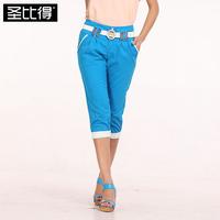 2013 summer women's color block decoration candy color personalized fashion capris horse trousers