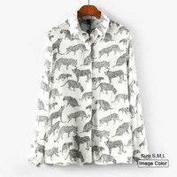 HZA088 Brand New Fashion Women Elegant Leopard Animals Print Shirts Turn-down Collar Long Sleeve Slim Chiffon White Blouses Tops
