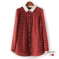 HZA090 Brand New Fashion Women Elegant Small House Print Shirts Turn-down Collar Long Sleeve Slim OL Chiffon Blouses Tops