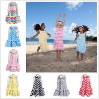 Cotton girl chevron maxi dress summer floor length dress for girls