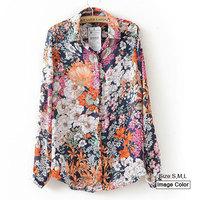 HZA086 Brand New Fashion Women Elegant Vintage Floral Flower Print Shirts Turn-down Collar Long Sleeve Chiffon Slim Blouses Tops