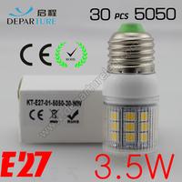 5xPCS  2014 New arrival SMD 5050  3.5W  E27 led corn bulb lamp, AC220-240v ,30 LED Warm white /white led lighting ,free shipping