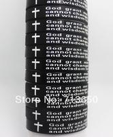 "24pcs English CROSS Serenity Prayer Black Silicone Bracelets Wholesale Fashion Jewelry Lots "" God grant me..."""
