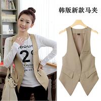 Free shipping 2014 new fashion spring autumn slim suit vest female plus size 3xl 4xl women's waistcoat blazer vest women