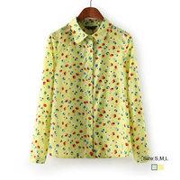 HZA089 Brand New Fashion Women Elegant Cherry Print Shirts Peter Pan Collar Long Sleeve Slim Sweet Chiffon Blouses Tops