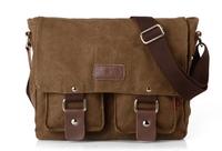 2014 New Fashion Men's Vintage Canvas Leather School Military Shoulder Bag Messenger Bag Free shipping