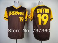 cheap stitched men's baseball jersey san diego padres 19 Tony Gwynn brown throwback Baseball Jerseys Embroidery logos