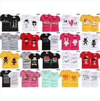 Free shipping 2014 whosale  s,t shirt men,women t shirts men tshirt couples clothes lovers t-shirt,10PC=5 couple t shirt qh10