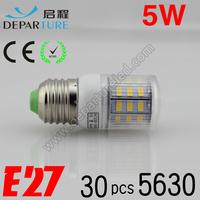 5xPCS  2014 New arrival SMD 5630  5W E27 led corn bulb lamp, AC220-240v ,30 LED Warm white /white led lighting ,free shipping