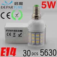 5xPCS  2014 New arrival SMD 5630  5W E14 led corn bulb lamp, AC220-240v ,30 LED Warm white /white led lighting ,free shipping