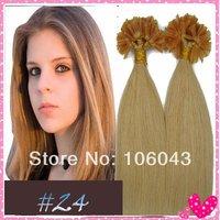 "18''/20"" Remy Nail Tip Human Hair Extensions #24  medium blonde 0.7g/strand 100strands/set  70g"