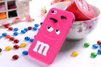 Free shipping Hot item Lovely M&M Chocolate Silicone Case Colorful closed mouse Rainbow Beans Cover phone case for iPhone 5 5S