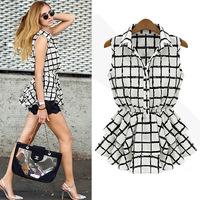 New arrival 2014 women's summer sleeveless turn-down collar slim fashion black and white plaid chiffon shirt cardigan