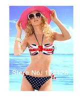New retro fringe bikini British american flag bikini union Jack Flag Bikini Padded Bandeau Halter Neck Swimwear Set #05