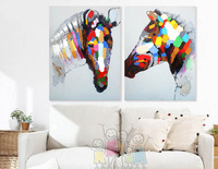 The new, pure hand-painted abstract decorative painting, animal horse, free shipping