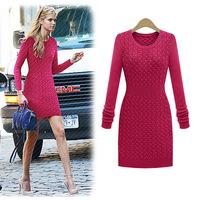 Women's  Slim Long-sleeve One-piece  Sweater Dress