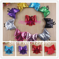 Flash Bowknot Flowers For Headbands Girls Corsage Flower Hair Accessories Glitter Sequin Embroidery bow Flowers Photography prop