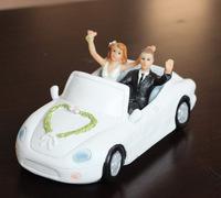 "Free shipping ""Honeymoon Bound"" Couple in Car Wedding Cake Topper"