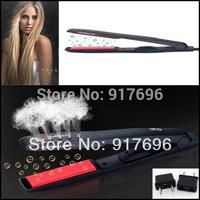 New hot sale glaze professionalblack ceramic coating black hair straightener straight clip iron board wet/dry dual stick