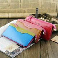 2014 New women's Fashion medium-long genuine leather zipper wallets/purse/clutches Free Shipping NQB58