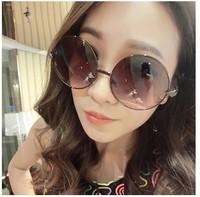 New 2014 Summer Vintage Sunglasses Female Male Darkglasses Big Circle Blackglasses Fashion prince Mirror Sunglass oculos de sol
