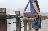 2014 New Men's Women Vintage Canvas Leather Shoulder Bags Genuine Cow Leather bag Messenger bag Handbags
