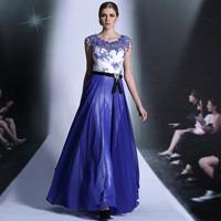 Wedding formal dress 2014 evening dress fashion formal dress double shoulder blue full dress free hongkong post fast air mail