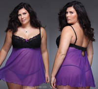 purple plus size lingerie  Dress+G-STRING  women sleepwear Underwear ,Uniform , Costume nightgown  M105-1