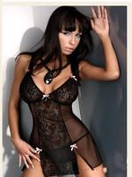 Women Sexy Black lace Transparent Lingerie Mini Dress Thongs Underwear Babydoll  M107