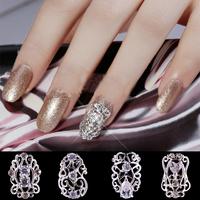 10pcs/lot Zircon cutout alloy drill full finger metal accessories nail art supplies a  ,free shipping