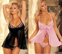 Sexy Lingerie Babydoll Lace Dress Underwear Transparent Nightwear  Deep M108