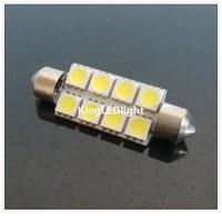 Hot selling! Free Shipping! 50pcs Car LED Festoon 41mm 8 SMD Festoon 5050 LED Dome Light Automobile Bulbs Lamp