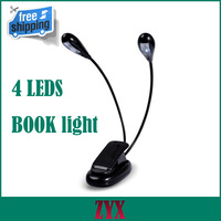 Flexible LED Reading Lamp book light Clip on 2 Dual Arms 2 LED Music Stand Light Reading light Free Shipping