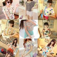 Fashion casual batwing sleeve 0-neck chiffon T-shirts ST002