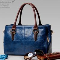 2014Women's Fashion Handbag Genuine Leather First Layer Of Cowhide Handbag Shoulder Bag Messenger Bag Leather Bag Big Waxing Oil