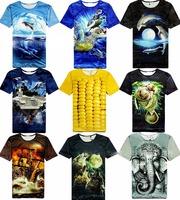 2014 Hot Sale Novelty Men Clothes Printing 3D Visual Creative Personality Spoof Cotton T-shirt Fashion Brand Shirt M L XL