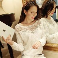 XXL-S New 2014 fashion Autumn Women's Sexy cutout chiffon shirt Ladies loose white top lace long-sleeve Sheer Blouses