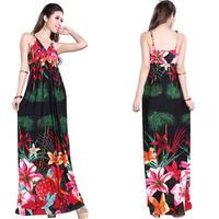 2014 girl's summer V-neck sexy suspender one-piece dress bohemia dress beach casual floor length dress