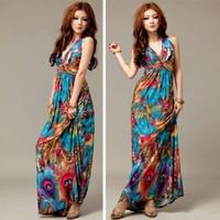 2014 Summer New Bohemian Dress Long Dress Was Thin V-Neck Sleeveless Tourist Seaside Resort Printing Beach Dress
