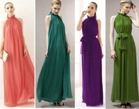 2014 Summer Stand Collar Sashes Maxi Dress Women Chiffon Black Vintage Long Dress Casual Sleeveless Ankle Length Dresses 7 color