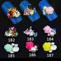 10Pcs 3D Clear Alloy Rhinestone Rose Nail Art Slices Diy Decorations