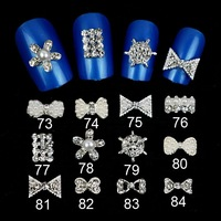 10Pcs 3D Clear Alloy Rhinestone Flowers  Nail Art Slices Diy Decorations Free shipping wholesale RD1403