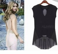 New 2014 women t-shirts woman clothes summer FashionChiffon big yards long section fake two women's T-shirt Free shipping