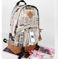 Vintage Student School Bag Adult backpack kids school bags for girls Newspaper Map backpack cheap fashion backapcks free ship