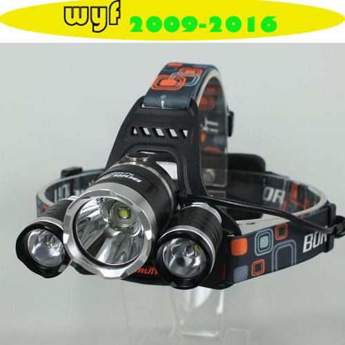5000Lumen CREE XM-L XML 3 x T6 LED Headlight Light Headlamp Flashlight Head Lamp +AC Charger/Car charger/2x18650 5000mAh battery(China (Mainland))