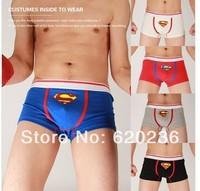 2014 Fashion and Sexy Man Superman Underwear Boxer Basics Shorts men boxers Panties SizeM L XL Sleepwear for Male Free Shipping