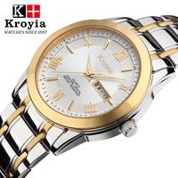 Watch stainless steel male watch waterproof ultra-thin quartz watch double calendar commercial luminous