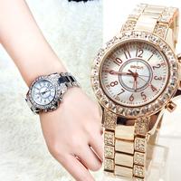 Luxury women's watch trend rhinestone sheet large dial fashion ladies watch quartz watch gold watch